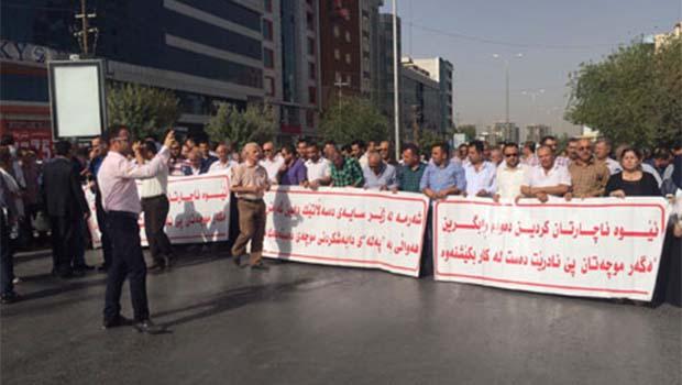 Güney Kürdistan'da eğitimcilerden maaş protestosu