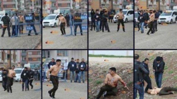 Diyarbakır Newroz alanına girmek isteyen gencin vurulma anı