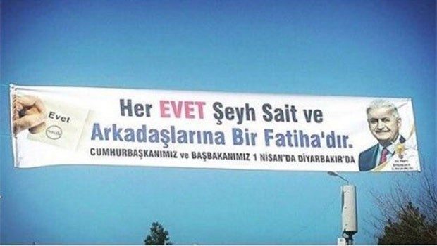AK Parti'den Diyarbakır'da Şeyh Sait'li evet pankartı