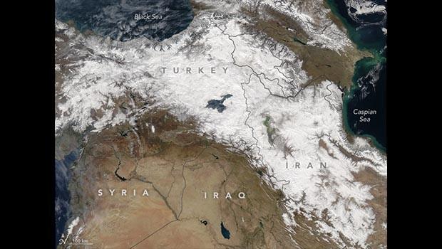 NASA'dan Karla Çizilmiş Kurdistan Haritası
