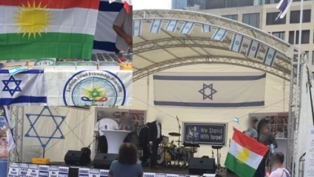 İsrail Günü'nde Kürdistan bayrakları