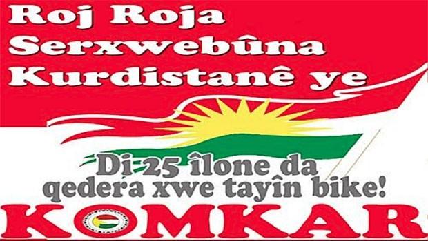 KOMKAR: Gün Kürdistan Bağımsızlık Referandurumu'na destek günüdür!