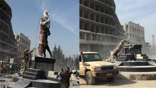 ÖSO Efrin'de Demirci Kawa'nın heykelini yıktı