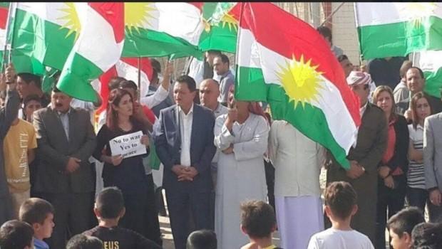 Kurdên Êzîdî, dijî dagîrkeri û zilma Heşdî Şeibî xwepêşandan lidarxistin