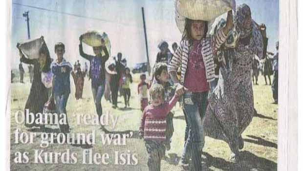 Sunday Times gazetesi, 'Kürtler IŞİD'den kaçarken, Obama kara savaşına hazır'