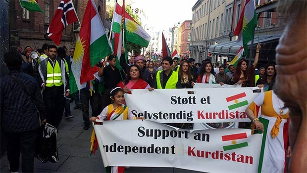 Norveç'te 'Bağımsız Kürdistan' gösterisi