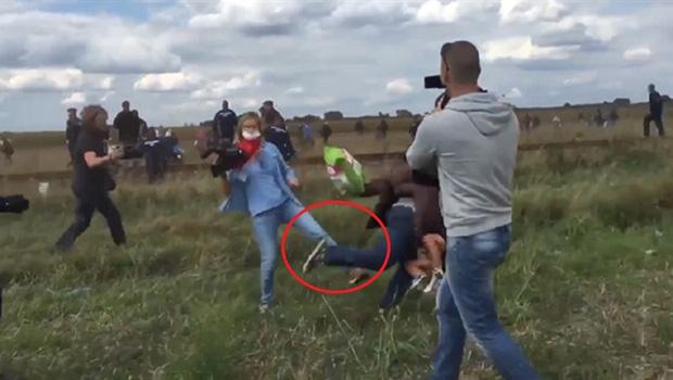 Macar kameramandan mülteciye tekme!