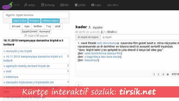 Kürtçe İnteraktif Sözlük: tirsik.net