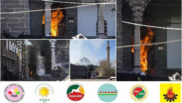 Kürdistani Partiler: Diyarbakır Tarihi Kurşunlu Camii'nin Yakılmasını Lanetliyoruz.