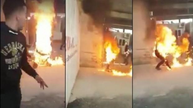 Sınır dışı edilmek istemeyen Suriyeli kendini yaktı