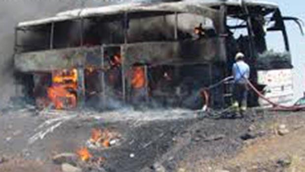 Urfa'da yolcu otobüsünde yangın