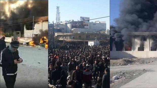 Süleymaniye'de parti binaları ateşe verildi