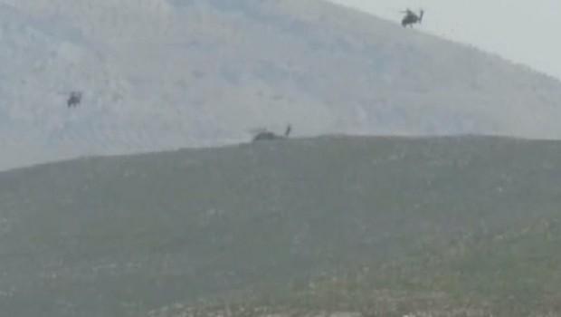 Sınırda düşen helikopter hareketliliği