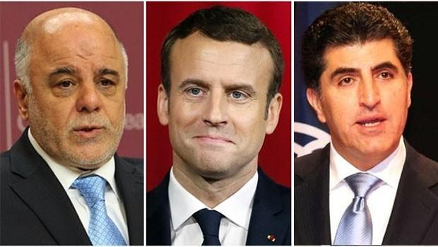 Fransa Cumhurbaşkanı'ndan Neçirvan Barzani ve Abadi'ye mesaj