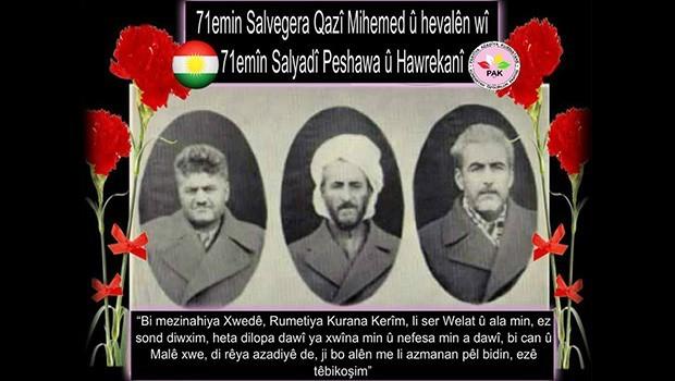 PAK: Pêşewa Qazî Muhammed ve arkadaşlarını saygıyla anıyoruz