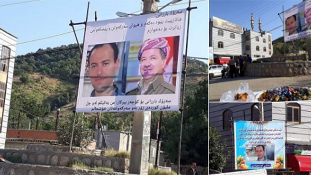 Rojhilat'ta Başkan Barzani ve Koçer Birkar afişleri