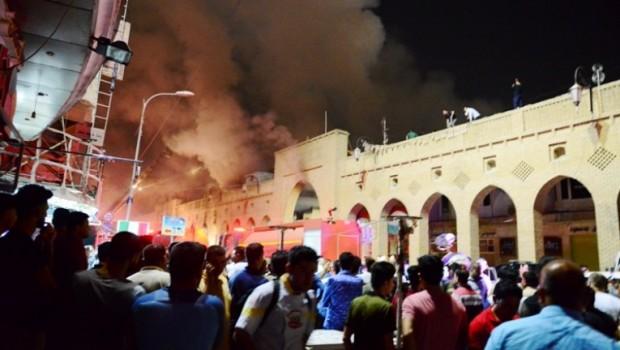 Erbil'in tarihi çarşısında yangın