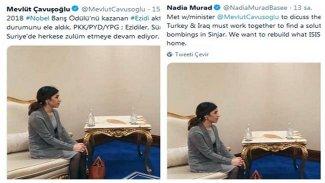Mevlüt Çavuşoğlu-Nadia Murad görüşmesinden iki farklı tweet