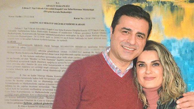 Demirtaş'ın eşine yazdığı mektuba, sakıncalı bulunarak, el konuldu