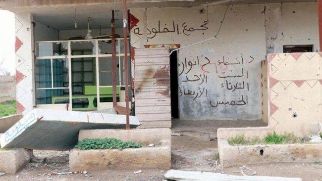 Bağoz'da IŞİD'den geriye sloganları kaldı