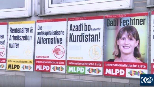 Alman partiden 'Kürdistan için özgürlük' yazılı seçim afişi