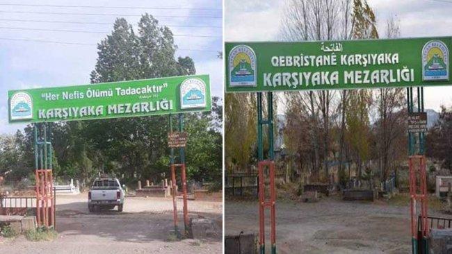 Tatvan'da mezarlıktaki Kürtçe tabela da kaldırıldı