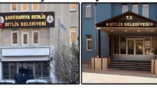 AKP: Bitlis'te indirilen Kürtçe tabela yerine takılacak