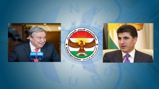 BM Genel Sekreteri Guterres'ten Neçirvan Barzani'ye kutlama