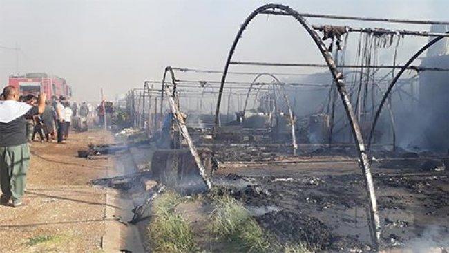 Ezidi Kürtlerin kampında yangın