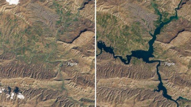 NASA su altında kalan Hasankeyf'in durumunu görüntüledi