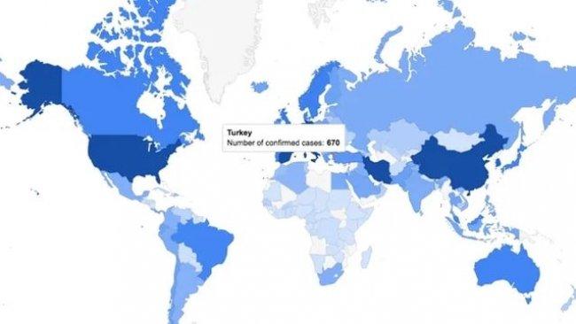 Google'dan Koronavirüse özel harita