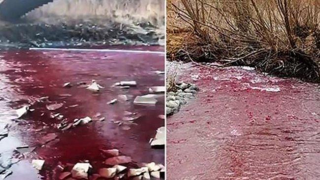 Şaşkına çeviren görüntü: Nehir kırmızıya büründü!