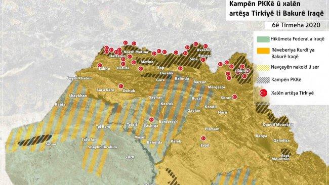 Türkiye Kürdistan Bölgesi'ndeki güçlerinin haritasını yayınladı