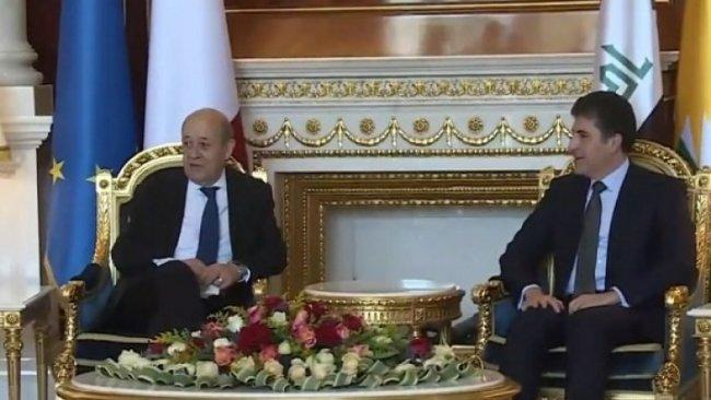 Başkan Neçirvan Barzani ile Fransa Dışişleri Bakanı Le Drian bir araya geldi