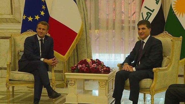 Başkan Barzani, Fransa Cumhurbaşkanı Macron bir araya geldi
