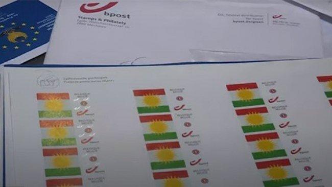 Kürdistan bayrağı Belçika pullarında