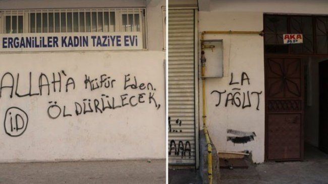 Diyarbarkır'da IŞİD imzalı duvar yazısı